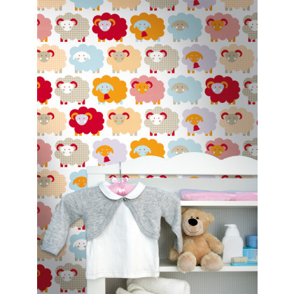 Sheep Nursery Kids Wallpaper - Red / Orange