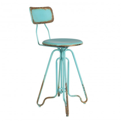 Distressed Industrial Metal Ovid Counter Stool - Turquoise