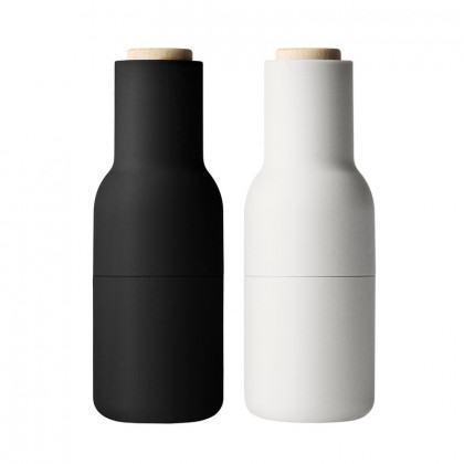 Menu Bottle Salt And Pepper Grinder - Pair-Ash/Carbon with Beech Lid