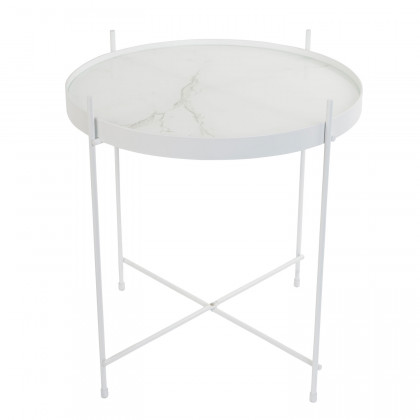 Zuiver Round White Marble Cupid Side Table