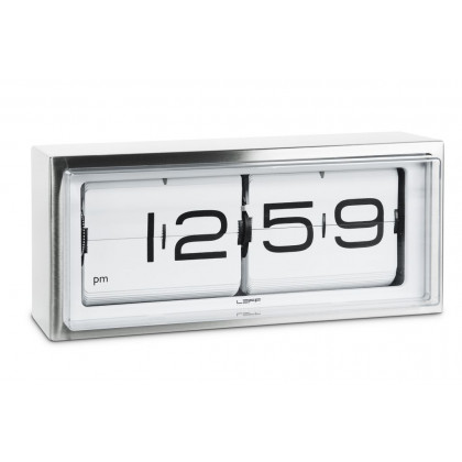 Leff Amsterdam Brick 24 Hour Flip Desk/Wall Clock, White