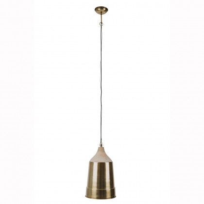 Dutchbone Wood And Metal Pendant Lamp - Brass