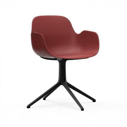 Normann Copenhagen Form Swivel Armchair - Red - Black Aluminium Legs