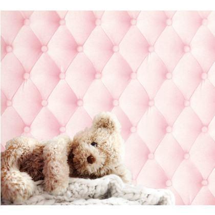 Powder Pink Linen Chesterfield Wallpaper