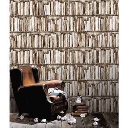 Antique Bibliotheque Crumpled Books Wallpaper - Biege