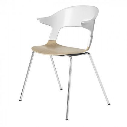 Fritz Hansen Pair Chair, Armrests, Chromed Legs