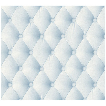 Light Blue Linen Chesterfield Wallpaper