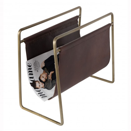 Dutchbone Scholar Leather / Gold Metal Magazine Rack