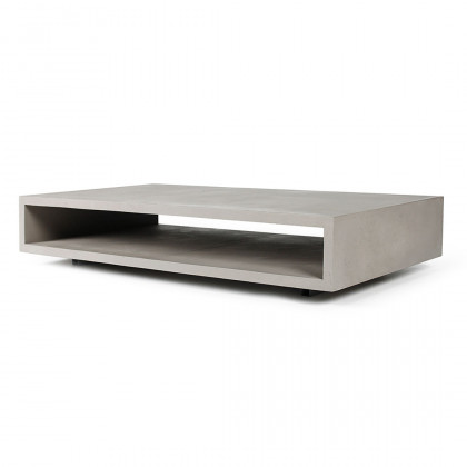 Monoblock Concrete Coffee Table, Metal Legs