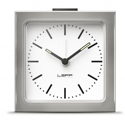 LEFF Amsterdam Block Alarm Clock Silver Station - Leff Amsterdam - Padhome