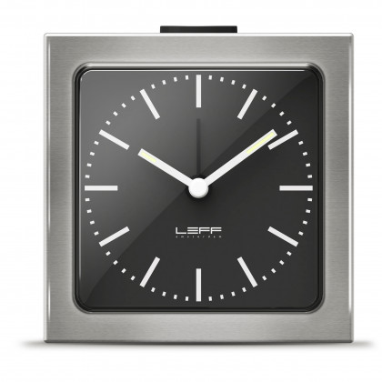 LEFF Amsterdam Block Alarm Clock Silver Black Face - Leff Amsterdam - Padhome