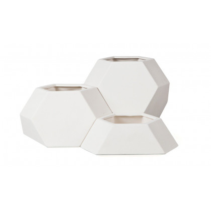 Ma-Ce-Ta Set of 3 Planters - White