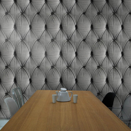 Mineheart Chesterfield Button Back Wallpaper - Grey