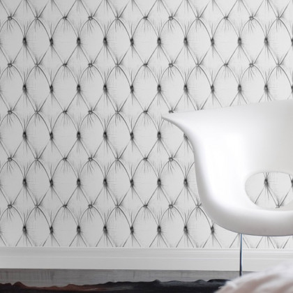 Mineheart Chesterfield Button Back Wallpaper - white