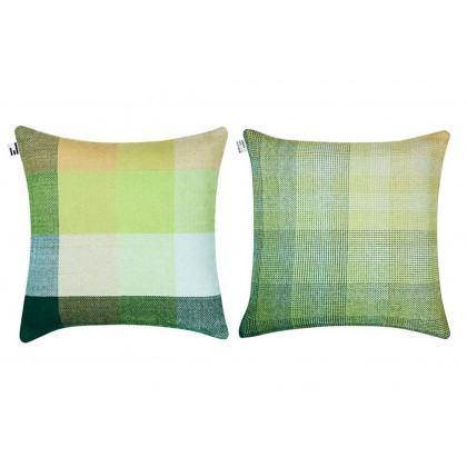 Simon Key Bertman Textile Design & Art - Gradient and Squares Cushion Cover - Green