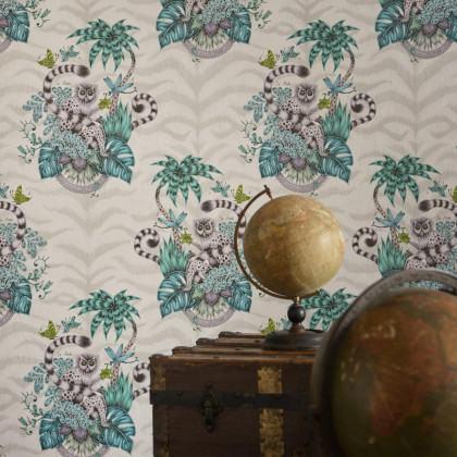 Emma J Shipley for Clarke & Clarke Lemur Wallpaper