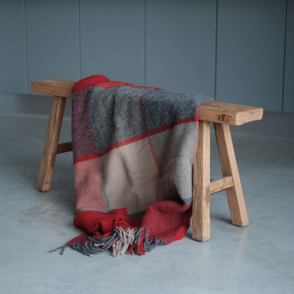 Patchwork Throw - Red and Slate