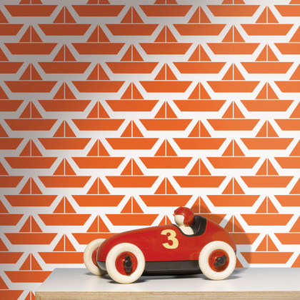 Divis Boat Childrens Wallpaper - Red