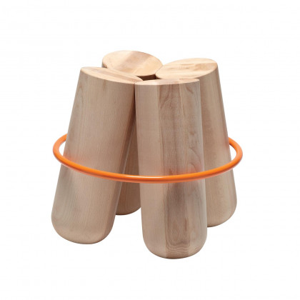La Chance Bolt Stool Natural Beech, Orange Ring