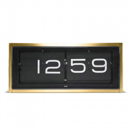 Leff Amsterdam Brick Brass 24 Hour Flip Desk/Wall Clock