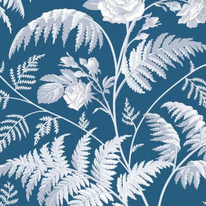 Cole and Son Rose Wallpaper-Blue - Botanicals (115/10031) - 1 Roll from a batch
