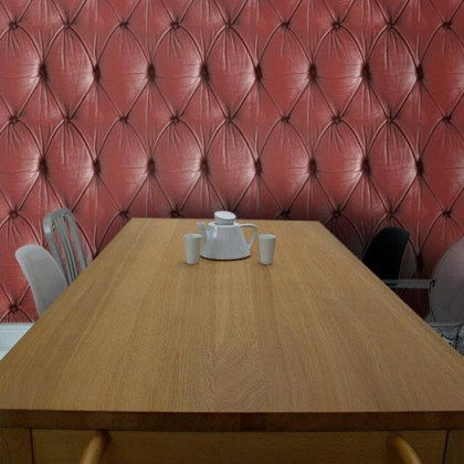 Mineheart Chesterfield Button Back Wallpaper - Red