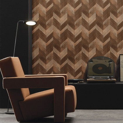 Geometric Chevron Wood Wallpaper