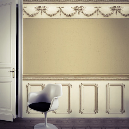 Classic 19th Century Wood Panelling Wallpaper - Beige