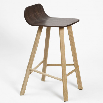 Colé Italian Tria Wood Stool - Coffee Painted Oak Seat