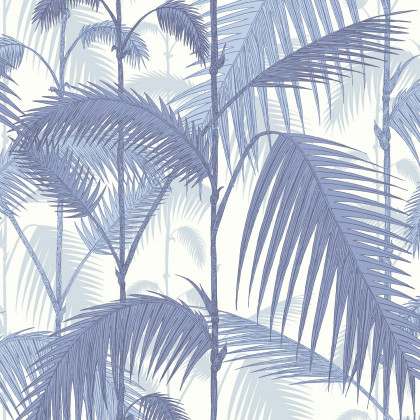 Cole and Son Palm Jungle Wallpaper - Blue on White (95-1005) - 1 roll from a batch
