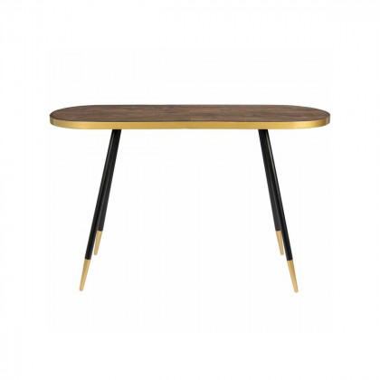 Dark Wood and Gold Console Table
