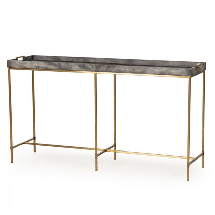 Andrew Martin Art Deco Brass Edith Console Table
