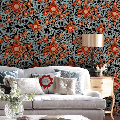 Mind The Gap Blue Floral Painting Wallpaper - Dark