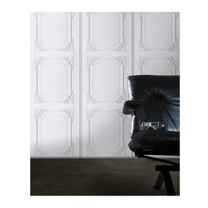 Louis XV Wood Panelling Wallpaper- white and Grey