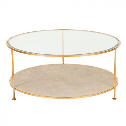 Andrew Martin Glass / Faux Shagreen Genevieve Coffee Table