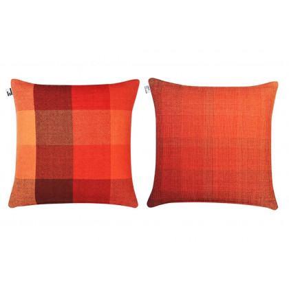 Simon Key Bertman Textile Design & Art - Gradient and Squares Cushion Cover - Large Red