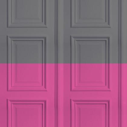 Mineheart Colourblock Panelling Wallpaper - Grey / Rose