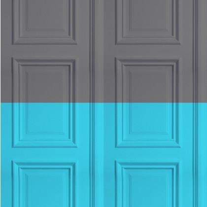 Mineheart Colourblock Panelling Wallpaper - Grey / Turquoise