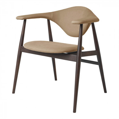 Gubi Masculo Dining Chair - Fully Upholstered - Wood Base