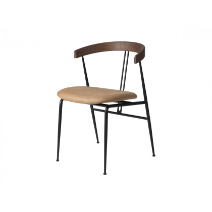 Gubi Violin Dining Chair - Seat Upholstered - Leather