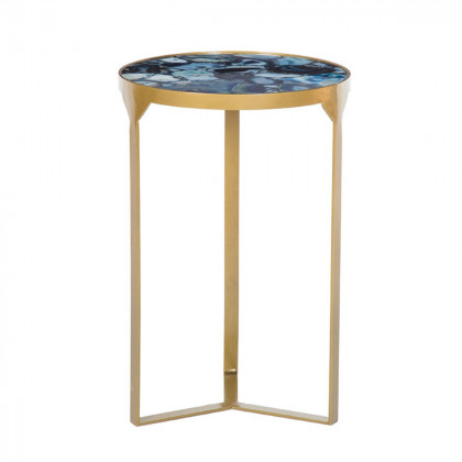 Blue Agate Side Table - Cobalt
