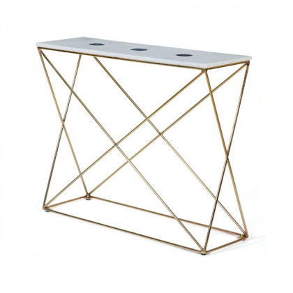 White Marble / Blue Agate Console Table