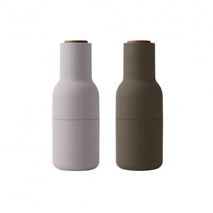 Menu Bottle Grinder-Hunting Green Beige with Walnut Lid