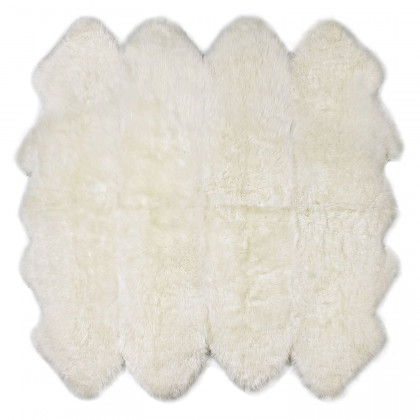 Long Wool Octo Stitched Sheepskin Rug-Ivory