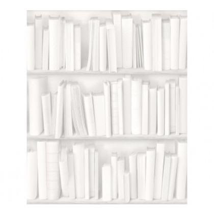 Antique Bibliotheque Wallpaper - White