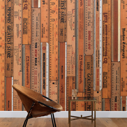 Mrs Vintage for NLXL Lab Printed Rulers Wallpaper