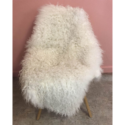 Luxury Curly White Leicester Sheepskin - XL