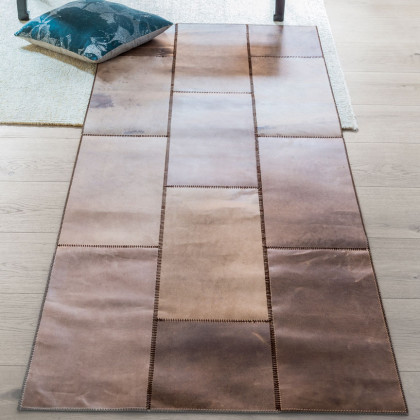 Massimo Leather Rug New - Brown