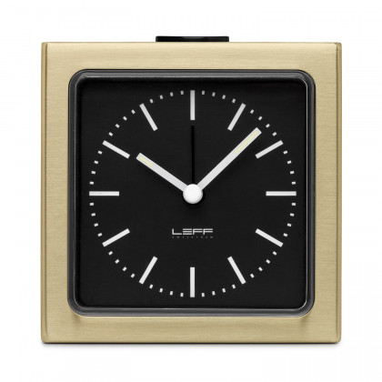 Leff Amsterdam Block Alarm Clock Brass
