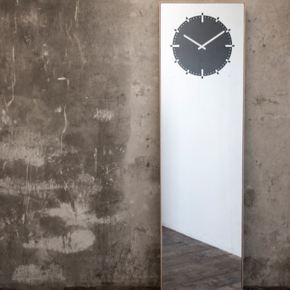 LEFF amsterdam Inverse Mirror Clock Black by Richard Hutten
